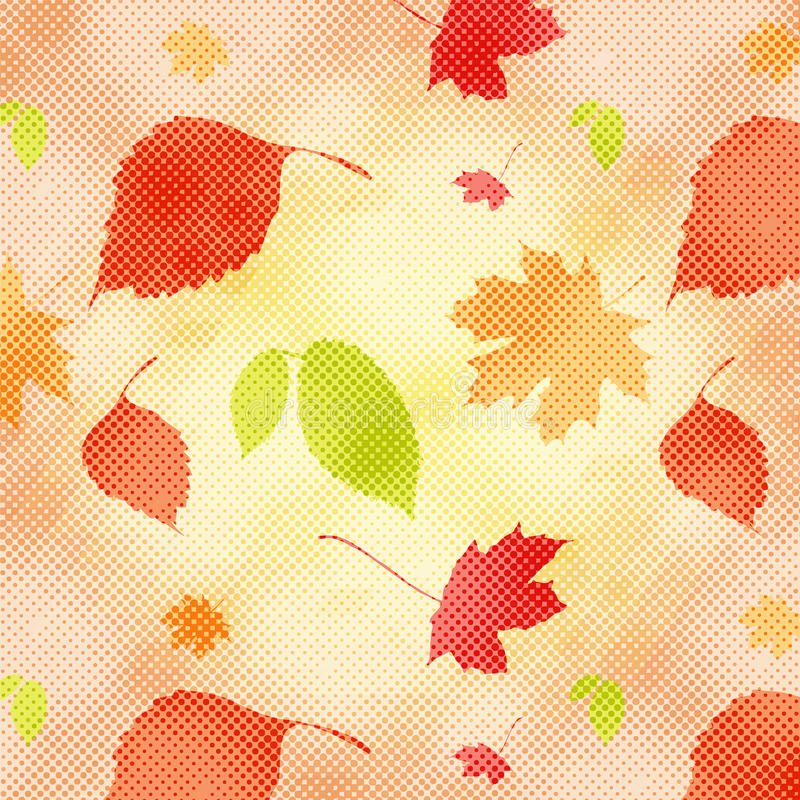 Autumn seamless background. With halftone is illustration. May be useful for print, fabric, wrapping, packing, tapestry, craftsmanship, scrap-booking also as vector illustration