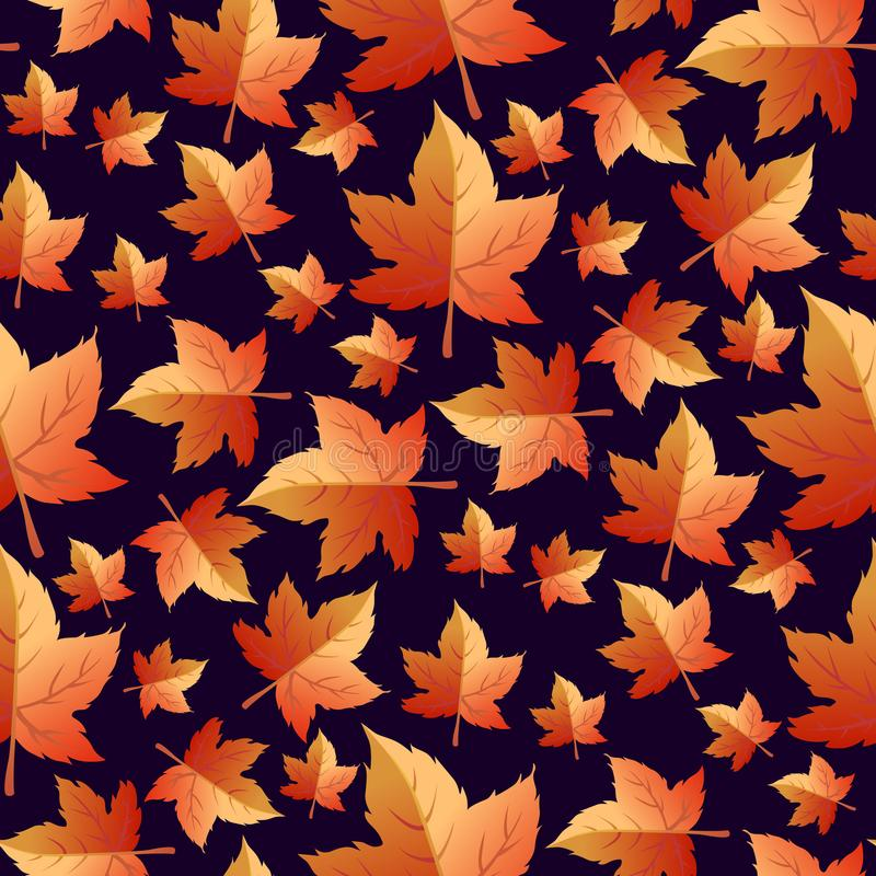Autumn seamless background with leaves. Change of seasons of the year. Trees lose their foliage. royalty free illustration