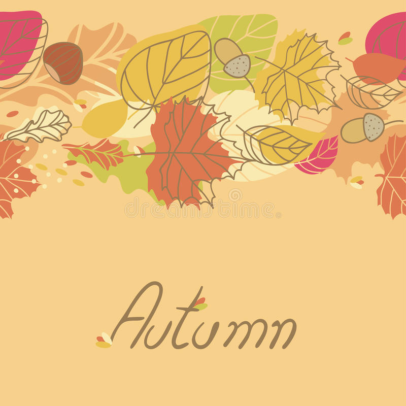 Download Autumn Seamless Border stock vector. Image of acorn, background - 27851090