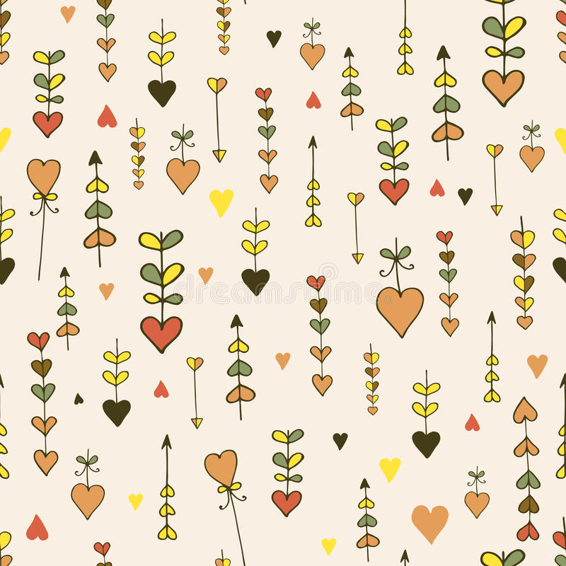 Free Autumn Seamless Hand-drawn Heart Pattern Royalty Free Stock Photography - 61322237