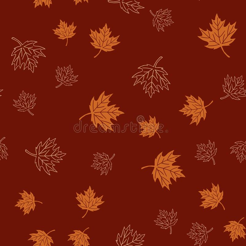 Autumn seamless pattern with brown maple leaves on red background, vector stock illustration