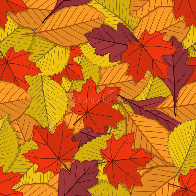 Autumn seamless pattern with fall leaves. Vector illustration royalty free illustration