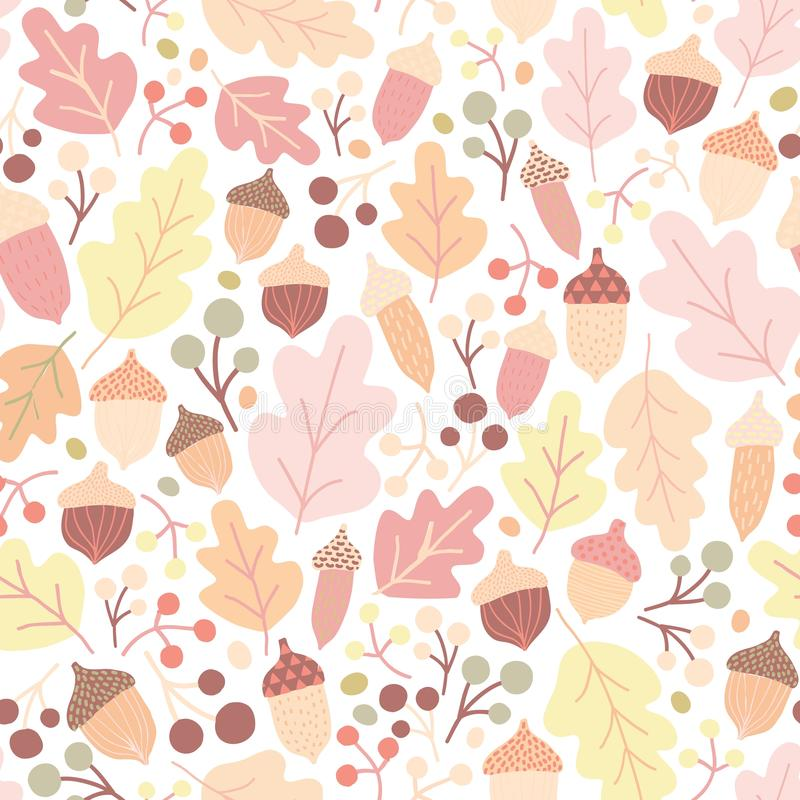 Autumn seamless pattern with fallen oak leaves, acorns, berries on white background. Seasonal backdrop. Colorful vector royalty free illustration