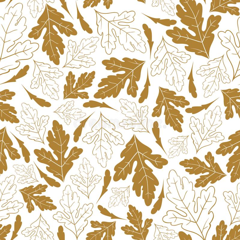 Autumn seamless pattern with golden leaves isolated on white background.Vector hand drawn illustration. stock illustration