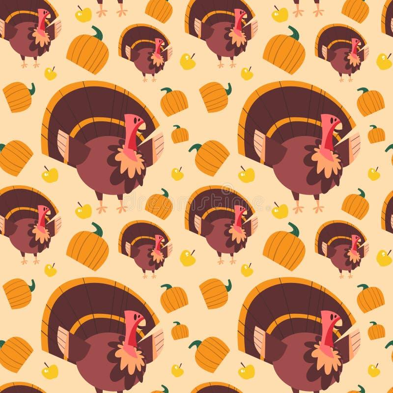 Autumn Seamless Pattern Happy Thanksgiving-Tageskonzept-traditionelle Feiertags-Verzierung mit der Türkei stock abbildung