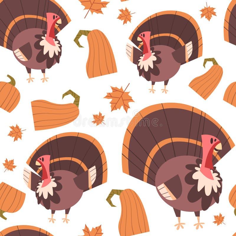 Autumn Seamless Pattern Happy Thanksgiving-Tageskonzept-traditionelle Feiertags-Verzierung mit der Türkei lizenzfreie abbildung