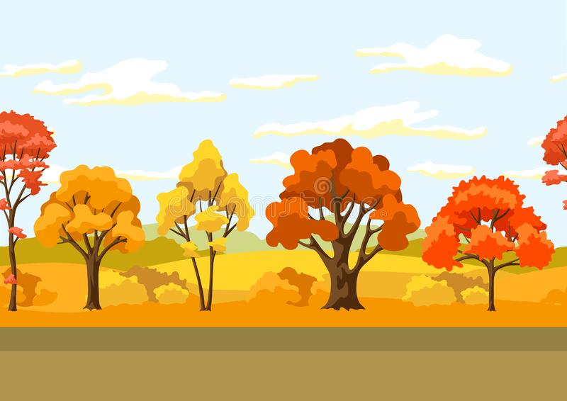 Autumn seamless pattern with landscape and stylized trees. royalty free illustration