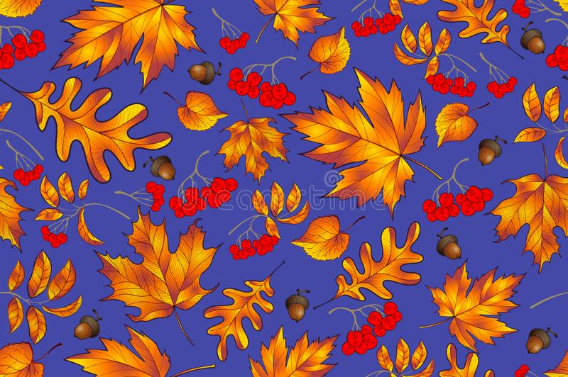 Autumn seamless pattern with leaf, autumn leaf background. Abstract leaf texture. Cute backdrop. Leaf fall. Colorful leaves. Dark royalty free illustration