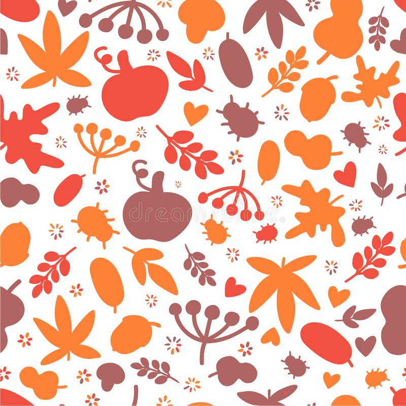 Autumn Seamless pattern with leaves, oak and bugs for bold design collection. Modern art style stock illustration