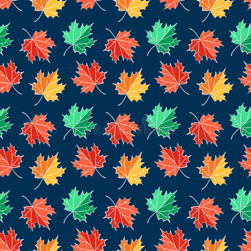 Autumn seamless pattern with maple leaves. Vector background. vector illustration