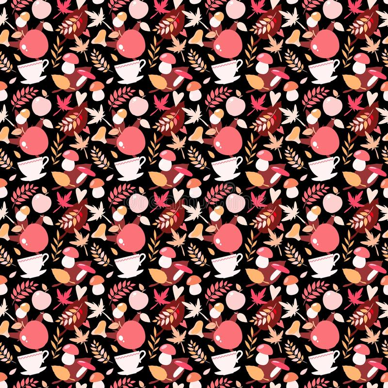 Autumn seamless pattern with mushrooms, leaves and other elements vector illustration