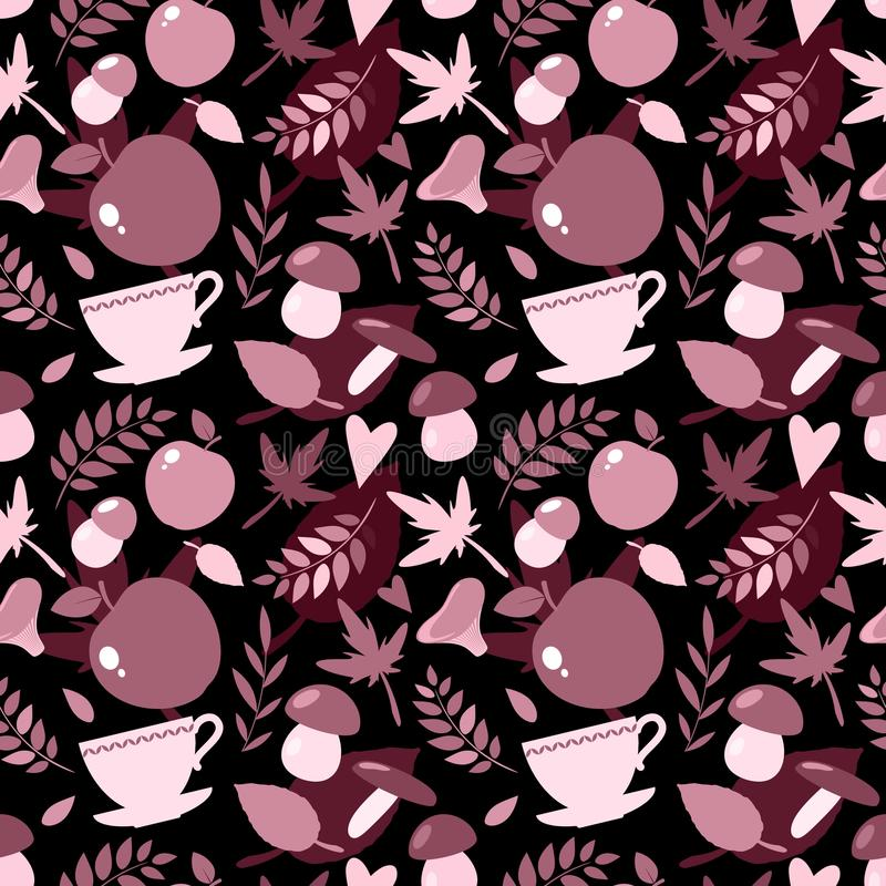 Autumn seamless pattern with mushrooms, leaves and other elements royalty free illustration