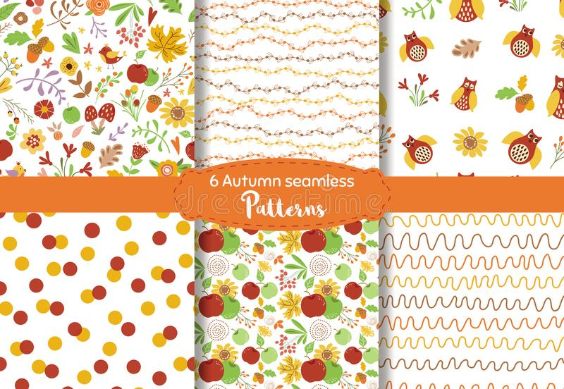 Autumn seamless pattern set Nature texture Fall floral design Autumn leaves owls apples Vector vector illustration