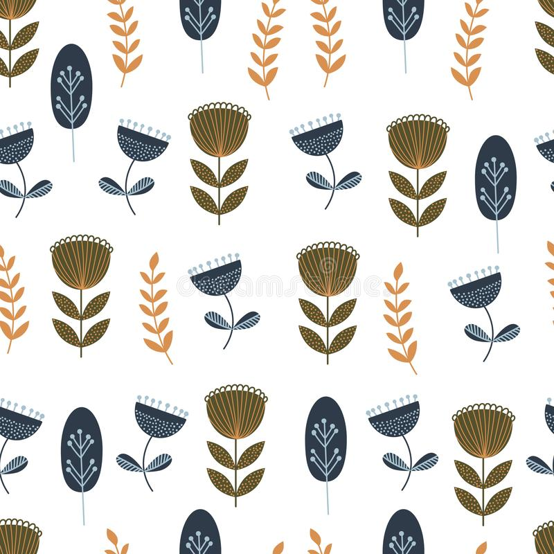 Autumn seamless pattern with wild floral elements. Hand drawn leaves, flowers, herbs. Modern repeatable background with stock illustration