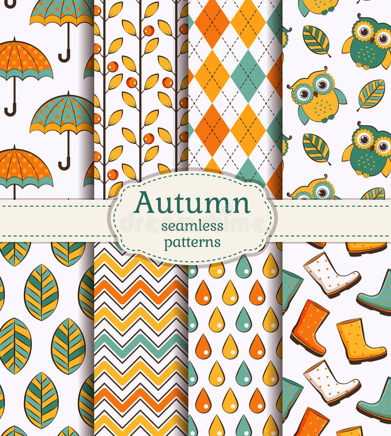 Autumn seamless patterns. Vector set. royalty free illustration