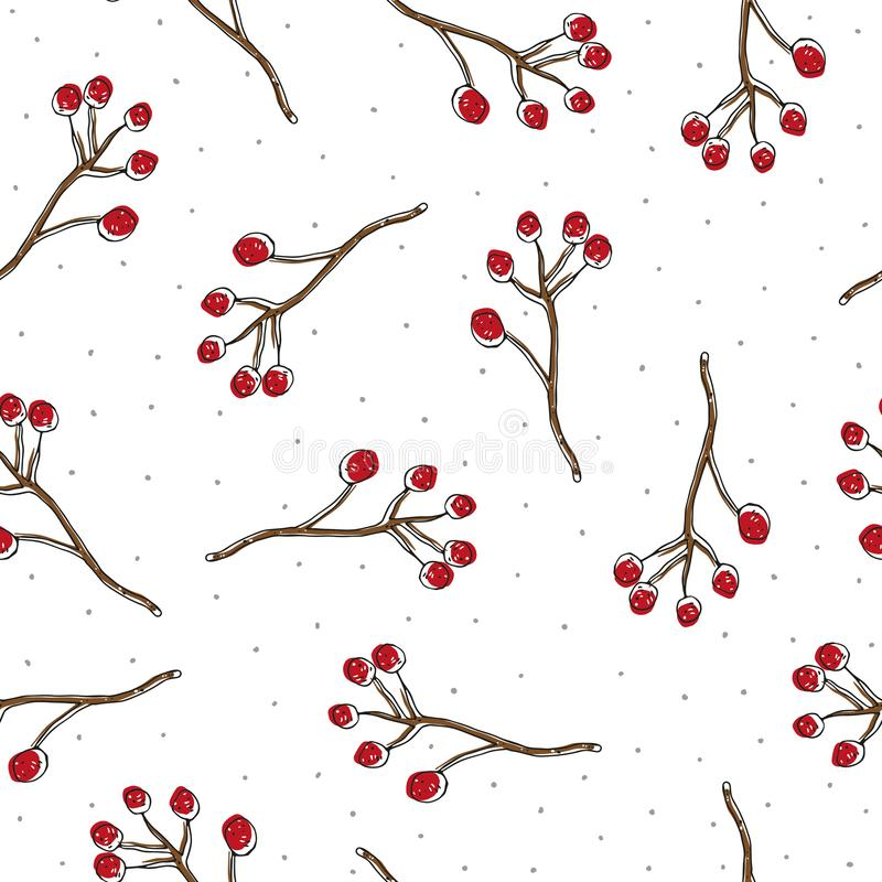 Autumn seamless themed pattern with colored sprigs of mountain ash. vector. gentle style. royalty free illustration
