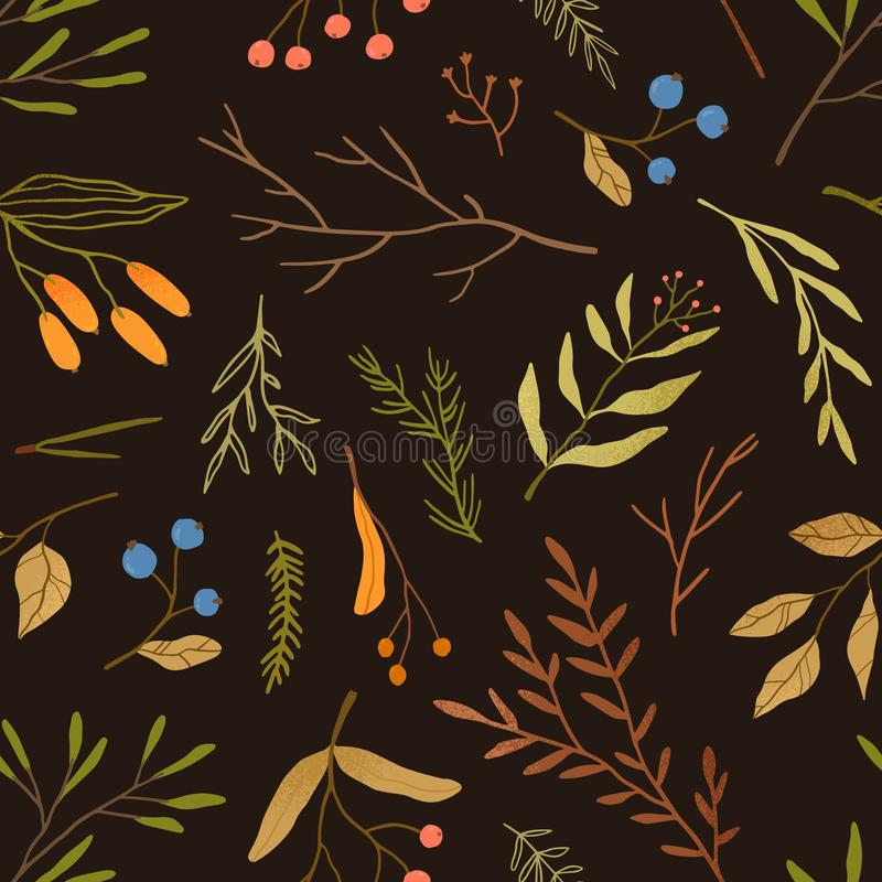 Autumn season botany flat vector seamless pattern. Dried leaves and branches texture. Blueberries twigs on black royalty free illustration