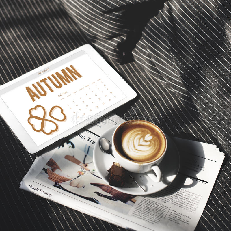 Autumn Season Change Falling Calendar-Organisatieklaver Concep royalty-vrije stock fotografie