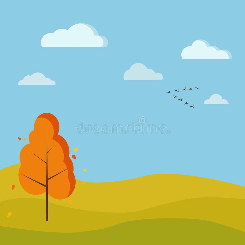 Autumn season cute nature landscape background with deciduous tree, fields, river, clouds, birds crane wedge stock illustration