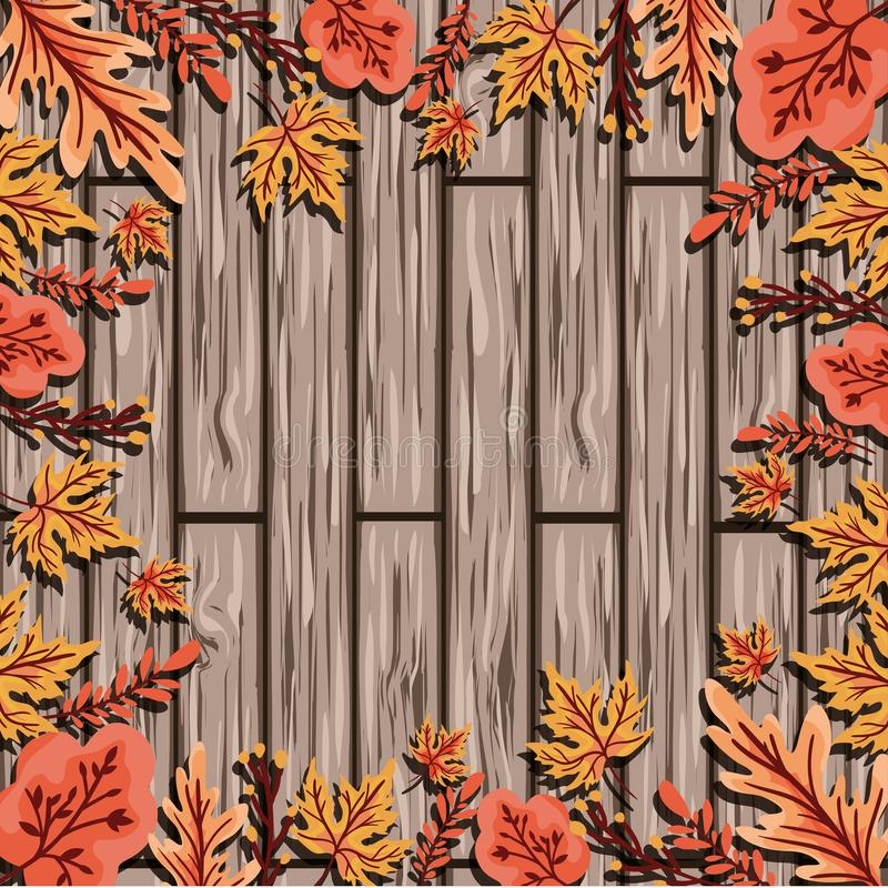 Autumn Season Design ,vector illustration. Frame of leaves of autumn season and wooden background, colorful design. vector illustration royalty free illustration
