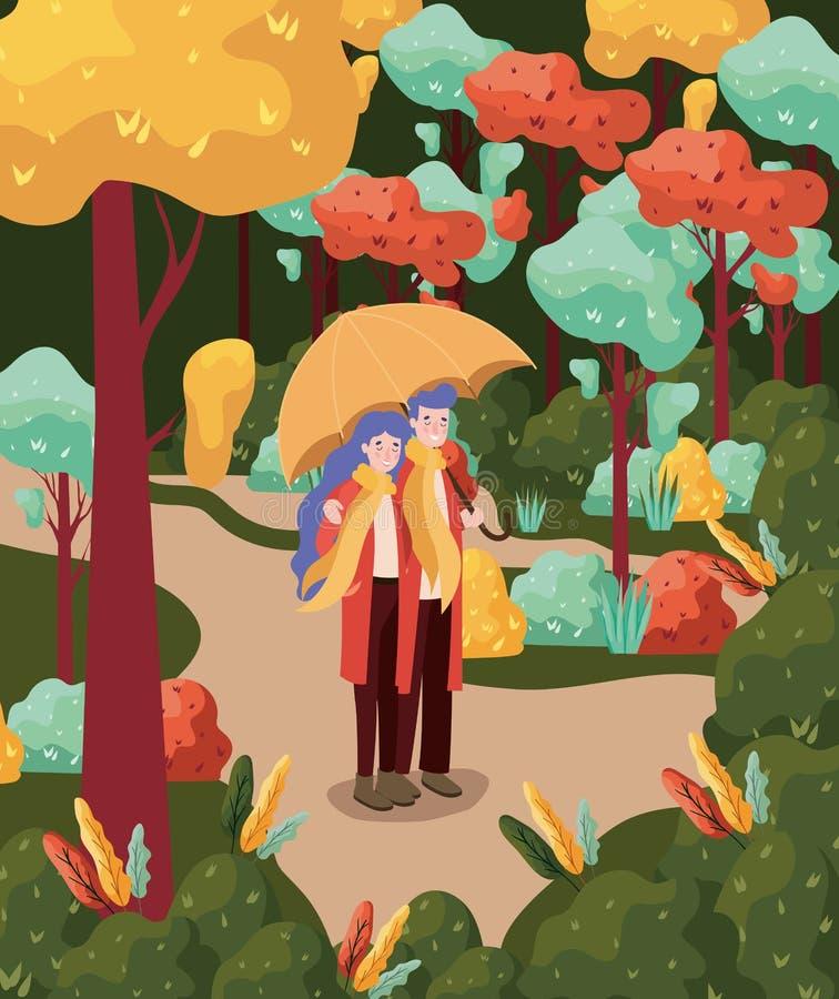 Autumn Season Design ,vector illustration. Happy couple standing with a umbrella over autumn trees background, colorful design. vector illustration stock illustration