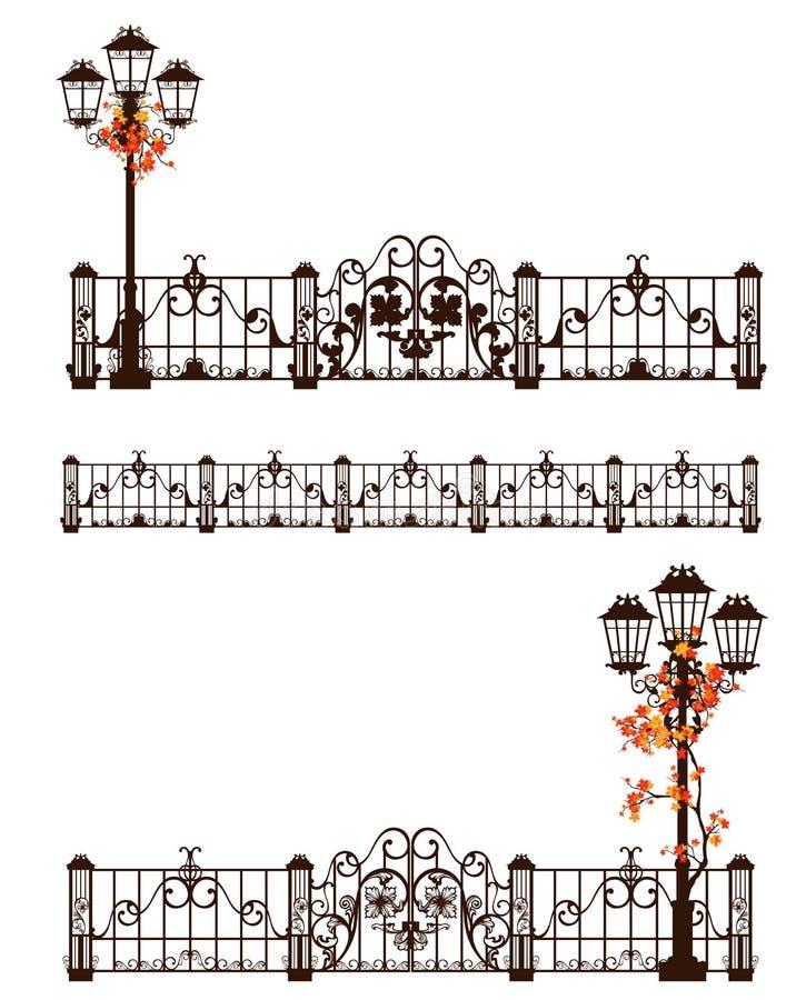 Autumn season fence and street light vector design set royalty free illustration