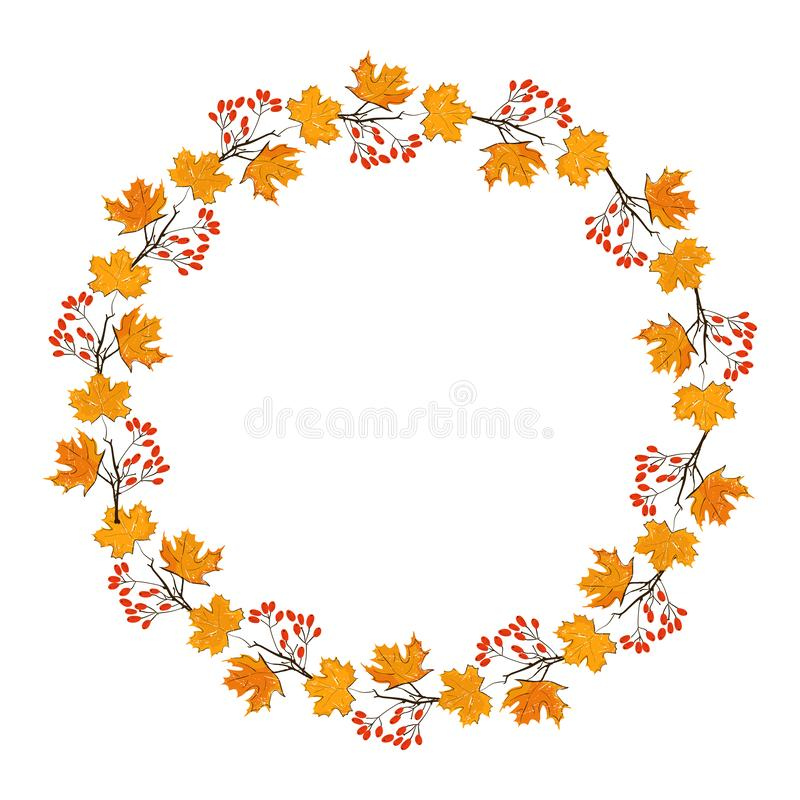 Free Autumn Season Frame With Pumpkin, Maple Leaves And Red Berries, Dry Branch. Fall Decoration Element For Cards And Royalty Free Stock Photos - 126864568