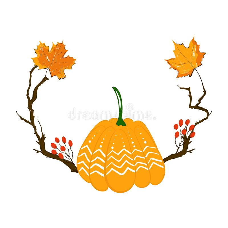 Free Autumn Season Frame With Pumpkin, Maple Leaves And Red Berries, Dry Branch. Fall Decoration Element For Cards And Stock Photography - 126864572