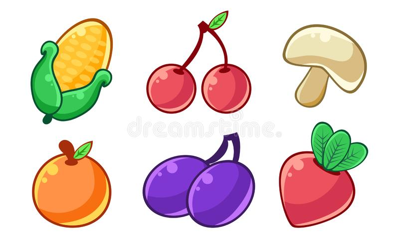 Autumn Season Fruits and Vegetables Set, Corn, Cherry, Mushroom, Orange, Plum, Beetroot Vector Illustration. On White Background vector illustration