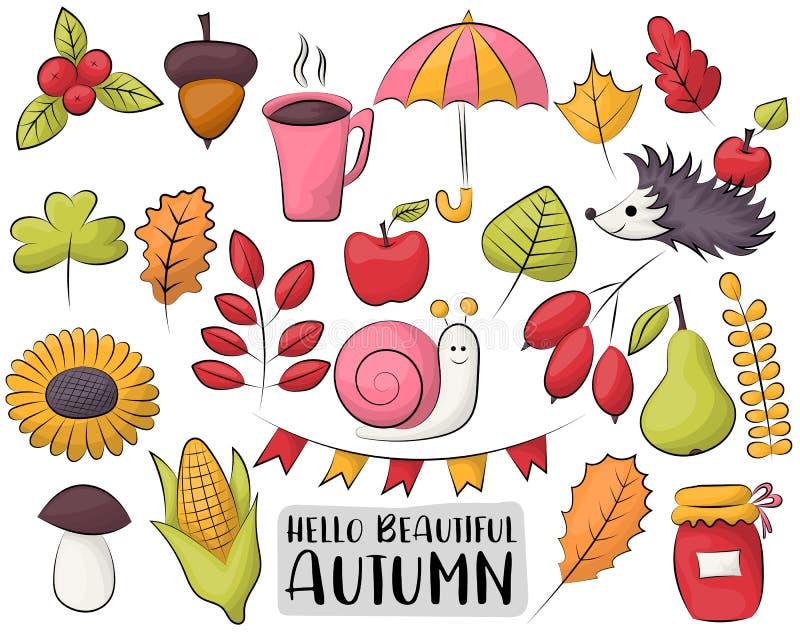 Autumn Season Icons Set De kleurrijke hand getrokken voorwerpen van de dalingskrabbel vector illustratie