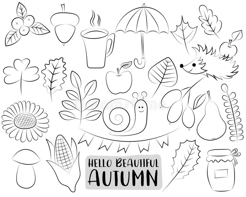 Autumn Season Icons Set Oggetti disegnati a mano in bianco e nero di scarabocchio del profilo La pagina di coloritura scherza il  illustrazione di stock