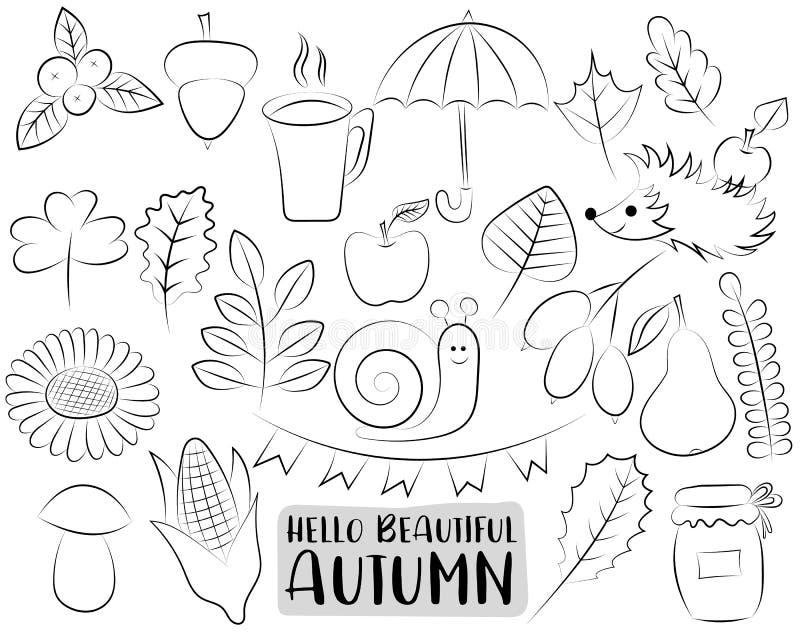 Autumn Season Icons Set Svartvit hand drog översiktsklotterobjekt Färga sidaungeleken stock illustrationer