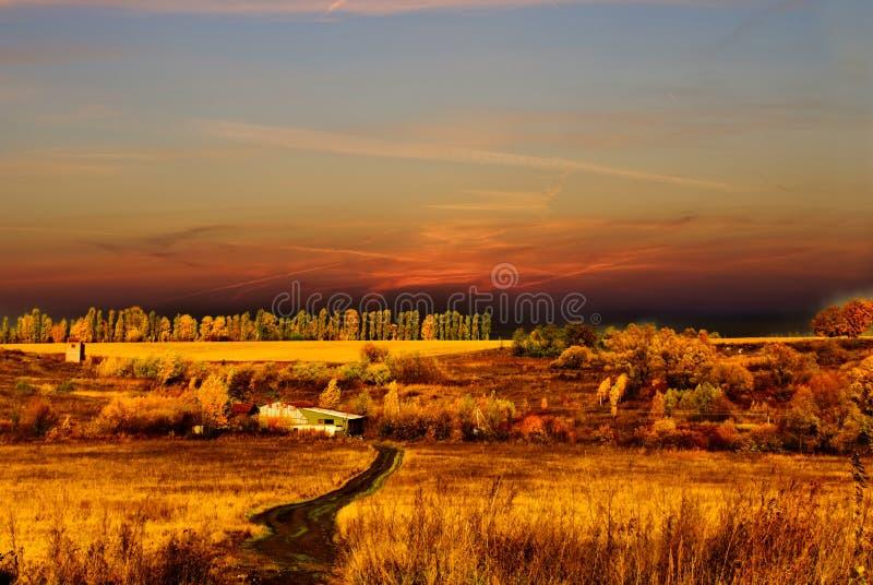 Autumn season landscape. Beautiful autumn season landscape at the sunset sky stock photo