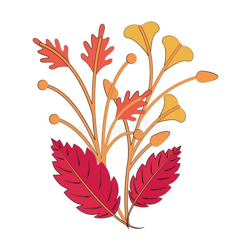 Autumn season leaves bouquet cartoon. Vector illustration graphic design stock illustration
