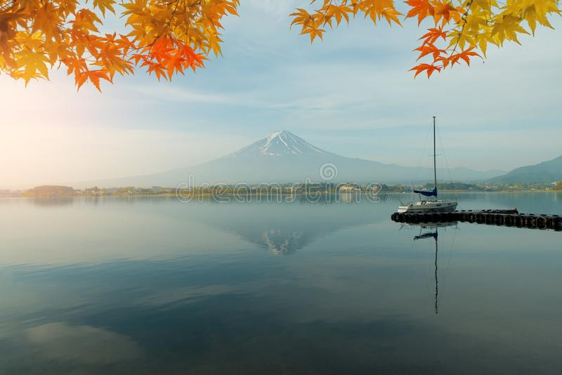 Autumn season and mountain Fuji in morning with red leaves maple stock photography
