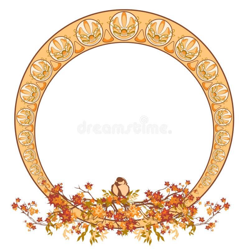 Autumn season nature art nouveau style vector frame design with copy space royalty free illustration