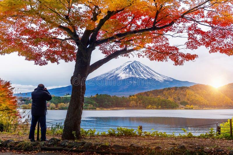 Autumn Season och Fuji berg på Kawaguchiko sjön, Japan Fotografen tar ett foto på Fuji mt arkivbild