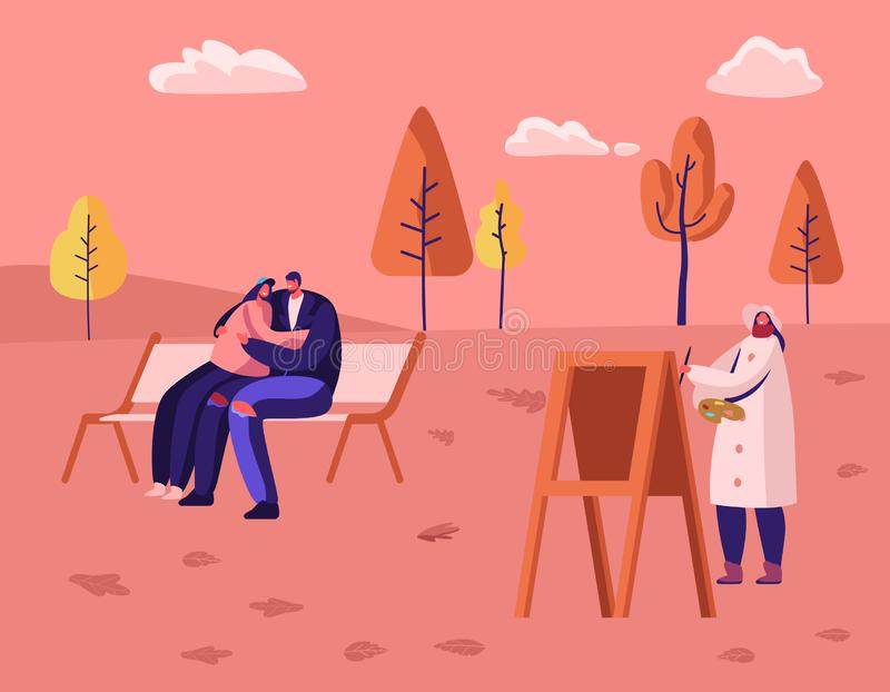 Autumn Season Outdoors Spare Time in Public City Park. Loving Couple Sitting on Bench Hugging royalty free illustration