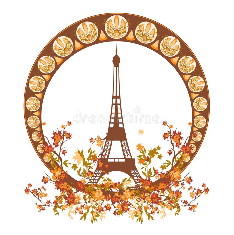 Autumn season Paris vector decor with eiffel tower and tree branches vector illustration