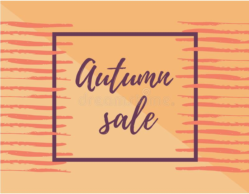 Autumn season sale banner template. Design layout. Place for text. Frame stock illustration