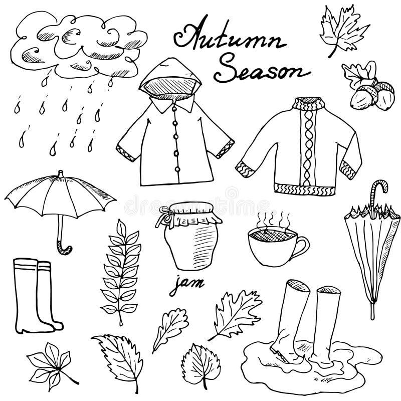 Autumn season set doodles elements. Hand drawn set with umprella cuo of hot tea, rain, rubber boots, clothes and leevs vector illustration