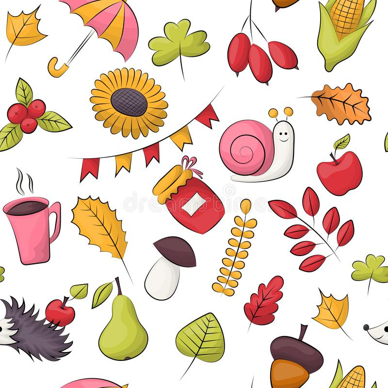 Autumn season theme. Seamless pattern. Repeating background for textile, wrapping, wallpaper. Vector illustration vector illustration
