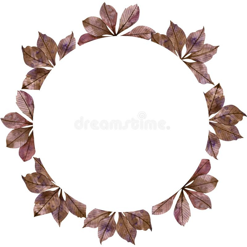 Autumn season watercolor circular frame: colorful purple fall leaves, maple tree branches isolated on white background. Decorative copy space stock illustration