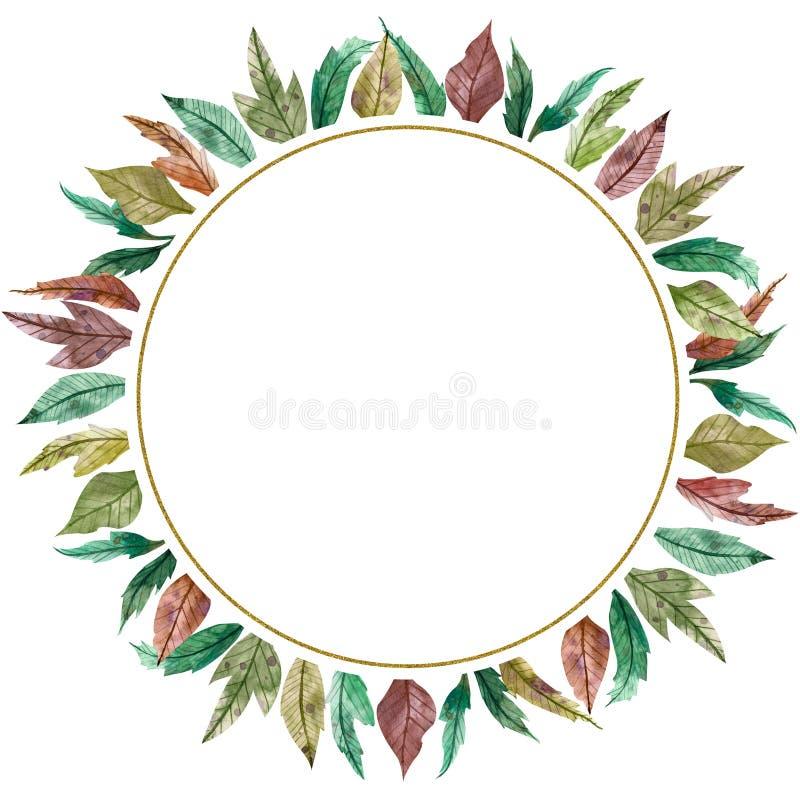 Autumn season watercolor circular frame. Hand drawn circle border. Colorful illustration of green, yellow, red leaves royalty free illustration