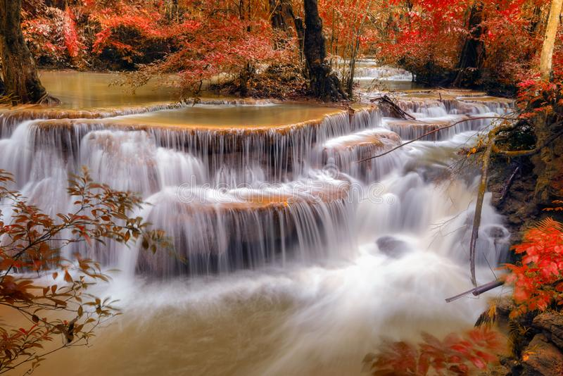 Autumn season of Waterfall in deep forest royalty free stock photo