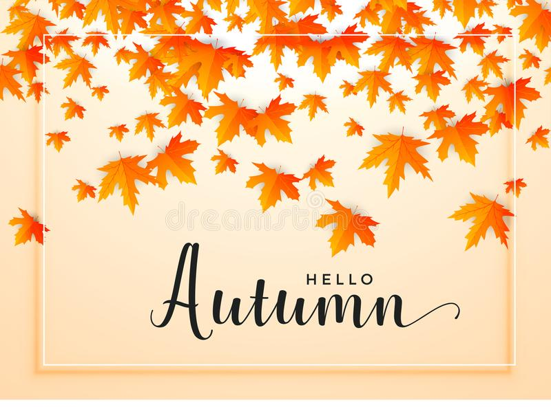Autumn seasonal background with falling leaves. Vector vector illustration