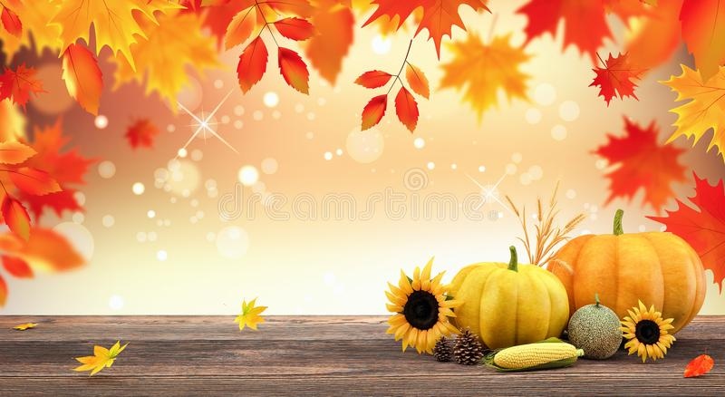 Autumn seasonal background with red falling leaves and fall decorations on wooden plank stock illustration