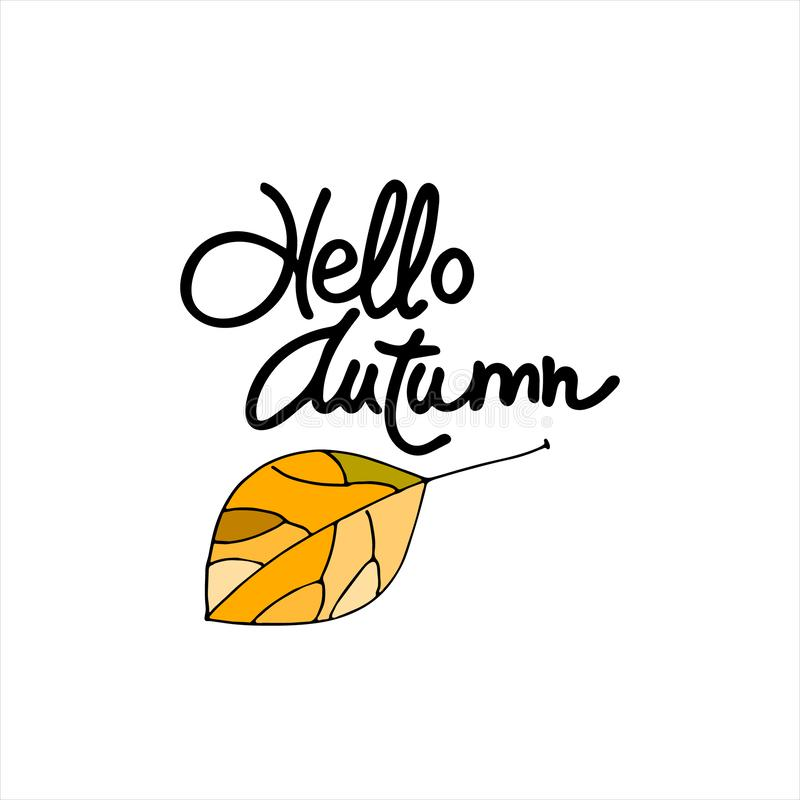 Autumn seasonal logo. Hello Autumn lettering decorated with hand drawn yellow leaf vector illustration