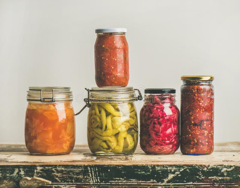 Autumn seasonal pickled or fermented vegetables, copy space royalty free stock image