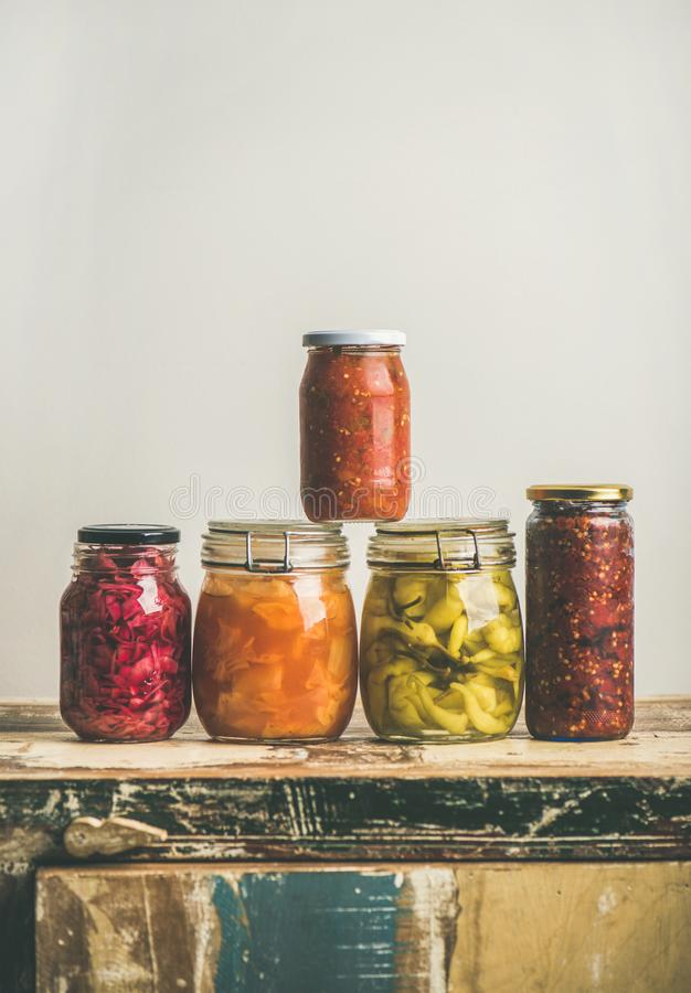 Autumn seasonal pickled or fermented colorful vegetables, copy space royalty free stock images